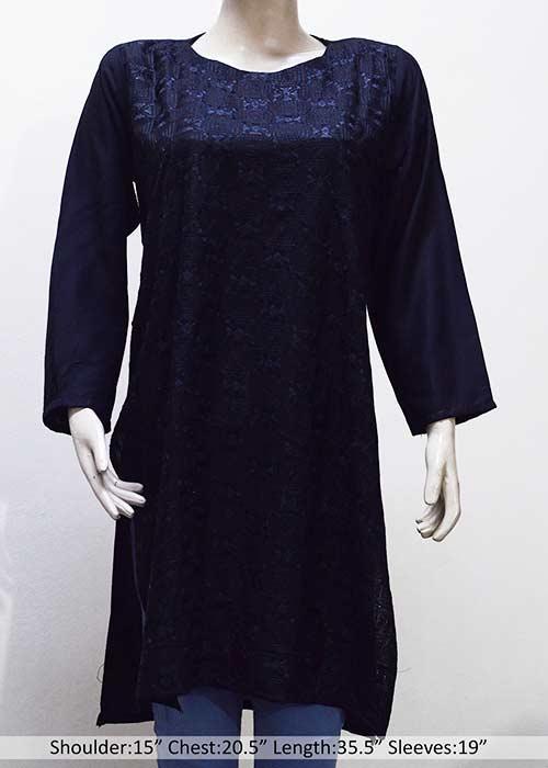 Black Embroided Linen stitched Kurti