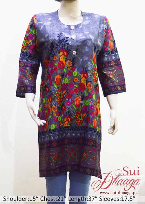 Khaddar Kurti in Grey Color with Multi Color Flowers