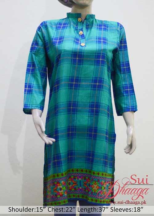 Stitched Khaddar Kurti Check Sea Blue Color