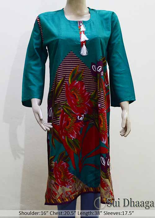 Linen Printed Stitched Kurti with Flower Design