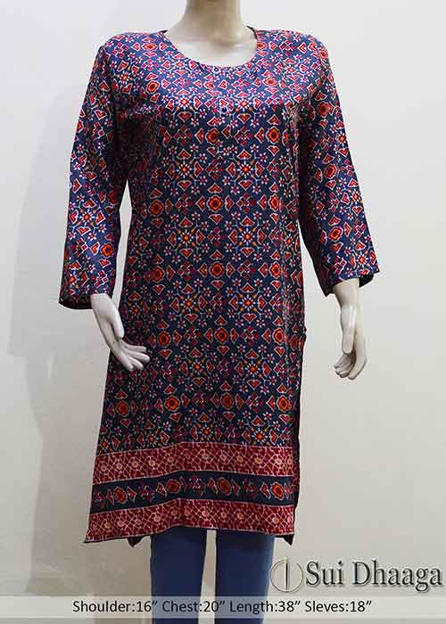 Stitched Printed Linen Kurti Multi Color