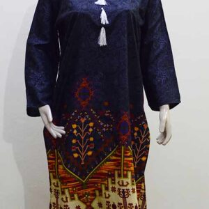 Linen Kurti in Black Color Stitched