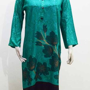 Stitched Linen Kurti in Green Color