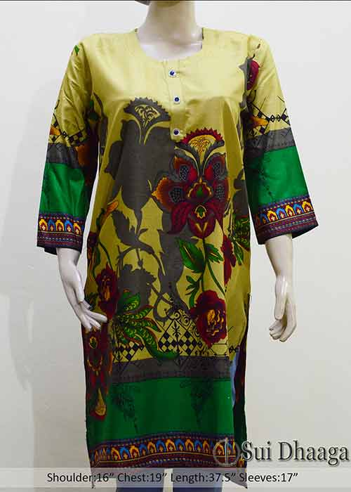 Stitched Kurti Flower Design Linen