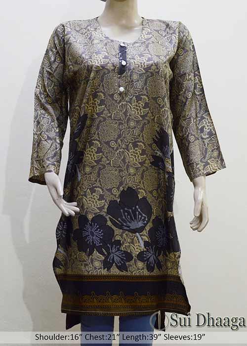 Linen Kurti in Grey Color Flower Design