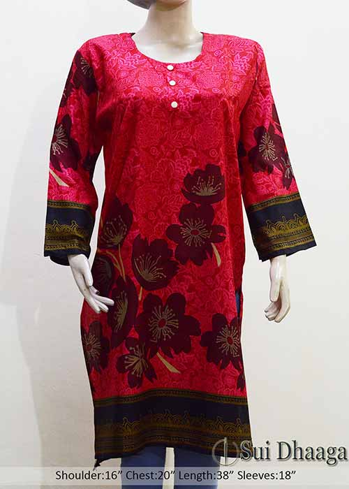 Stitched Linen Printed Kurti in Red Color