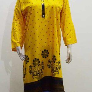 Yellow Linen Printed Stitched Kurti
