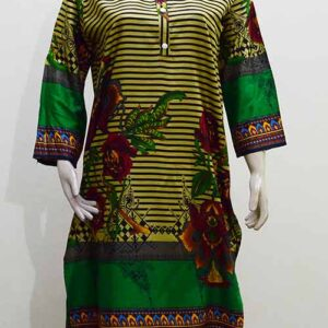 Green Linen Printed Flower Design Kurti