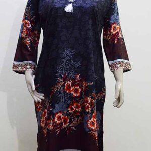 Black Kurti Linen Stitched Flower Design