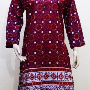 Ajrak Style Lawn Kurti Stitched