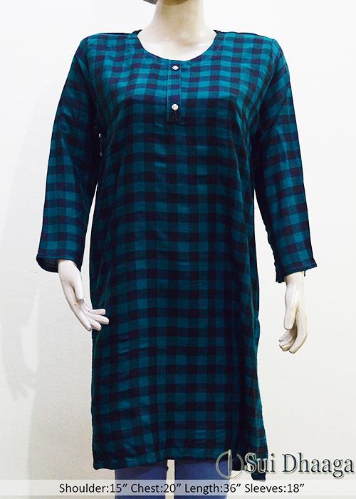 Green Check Wool Stitched Kurti