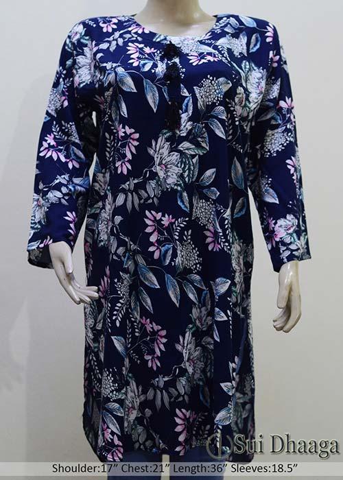 Blue Printed Linen Kurti