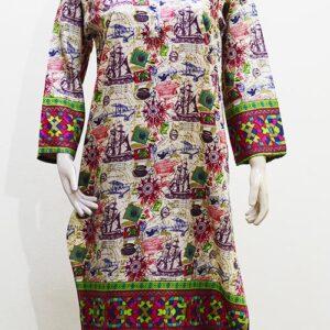 Printed Linen Stitched Kurti