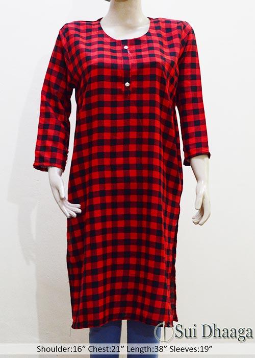 Red-Check-Wool-Stitched-Kurti