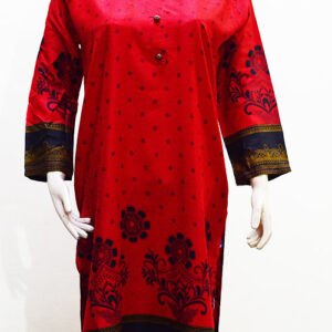 Stitched-Kurti-in-Red-Linen