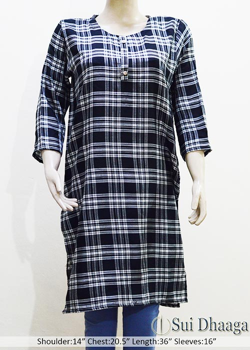 Stitched check printed wool